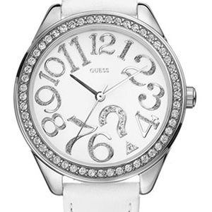 GUESS Women's White Leather Strap Watch